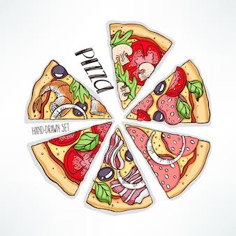 다양한 먹거리와 함께 피자 몇 조각. 손으로 그린 그림