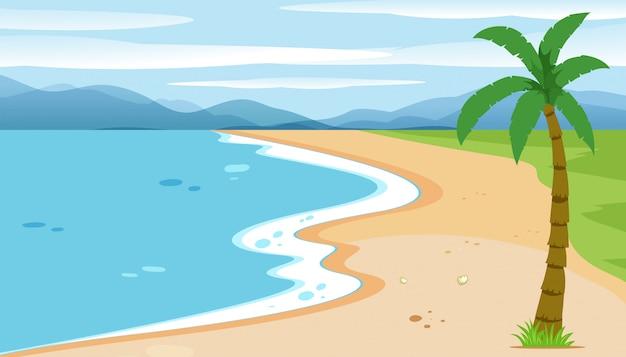 Плоский пляжный пейзаж