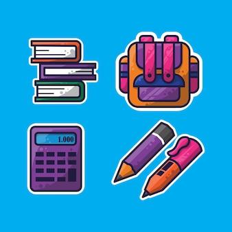 교육 테마와 어린이를 위한 교육용 스티커 디자인이 포함된 평면 디자인 번들