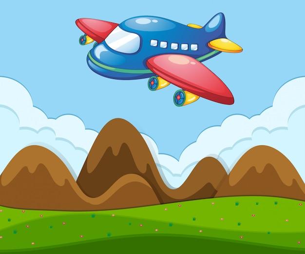 Плоский пейзаж с самолетом