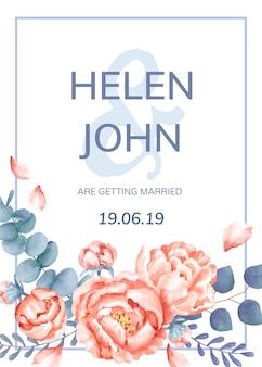 Цветочная тематическая свадебная открытка