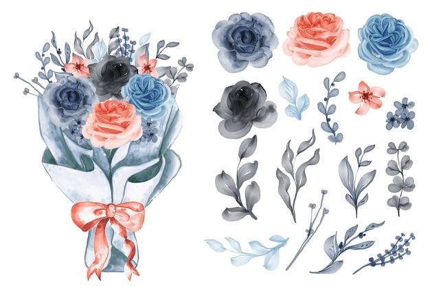 Букет цветов в бумажной упаковке с изолированными картинками из розового синего апельсина и листьев