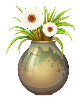大きな鉢の顕花植物