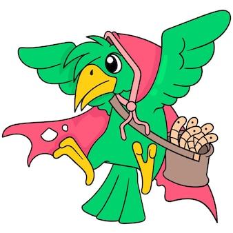어린 벡터 일러스트레이션 아트를 위해 벌레 한 봉지를 들고 빨간 후드를 쓴 날아다니는 새. 낙서 아이콘 이미지 귀엽다.