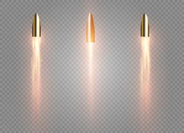 불 같은 흔적이있는 비행 총알. 투명 배경에 고립.