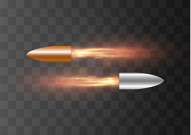 燃えるような跡の飛んでいる弾丸。透明な背景に。図。