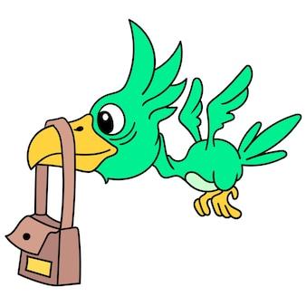 부리에 가방을 메고 날아다니는 펠리컨, 낙서는 귀여운 그림을 그립니다. 벡터 일러스트 레이 션 아트