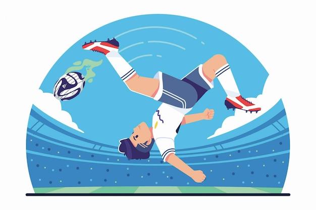 Футболист, пинающий мяч ударом велосипеда Premium векторы