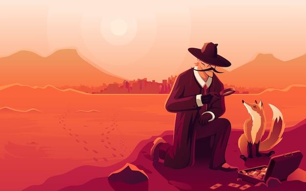 Лесной детектив расследует преступление и ищет улики. комикс мультфильм поп-арт ретро рисунок