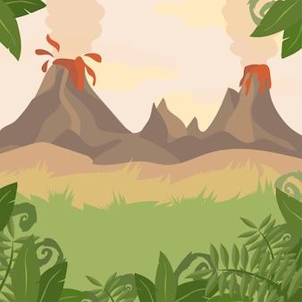 火山とジャングルの植物と森の風景-ベクトル