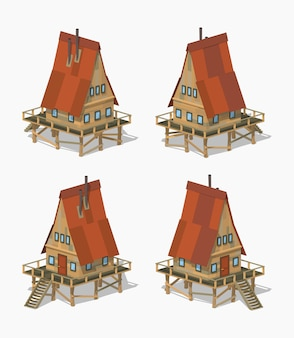 A-frame деревянный 3d низкополигональный изометрический дом