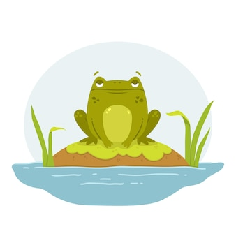 늪에 있는 개구리 바위에 앉아 있는 두꺼비 귀여운 납작한 손으로 그린 캐릭터