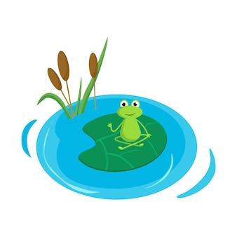 Лягушка медитирует на водяной лилии. векторные иллюстрации в мультяшном стиле.
