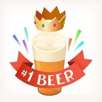 Полный стакан светлого пива с пенистой пеной на верхней короне с разноцветными драгоценными камнями поверх нее и красной лентой