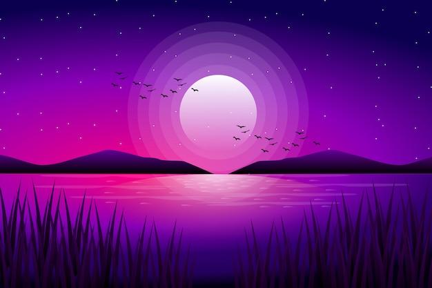 Полнолуние с звездным ночным небом