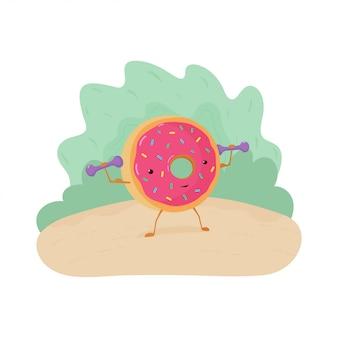 Весело красочные иллюстрации пончик занимается фитнесом. сильный пончик с бицепсом поднимает гантели.