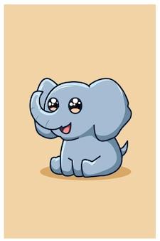 Забавный и счастливый мультяшный слоненок