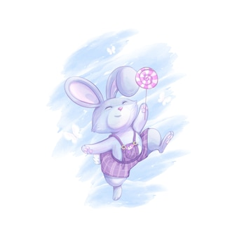 Забавный зайчик в сиреневых полосатых брюках прыгает с леденцом на палочке