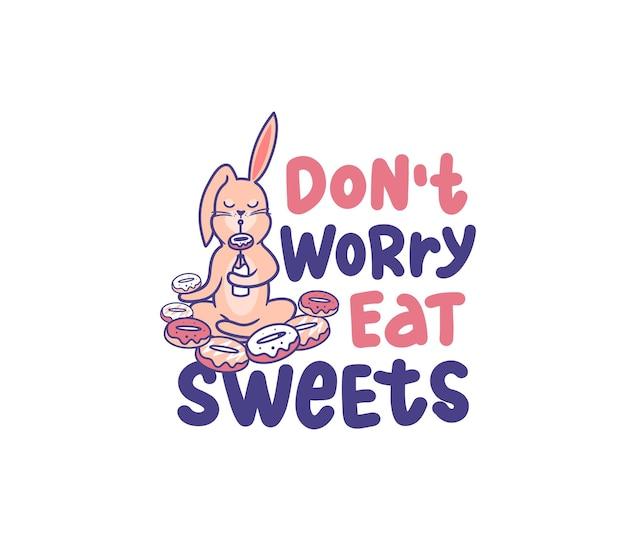 Забавный кролик в позе йоги. мультяшный кролик расслабляется и держит пончики