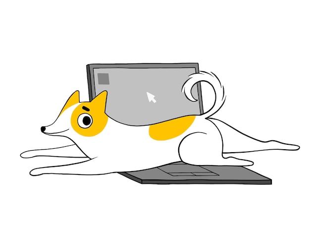 재미있는 개가 노트북에 누워 있고 일을 허용하지 않습니다.