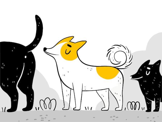 재미있는 개가 거리를 걷고 다른 개를 냄새 맡습니다.