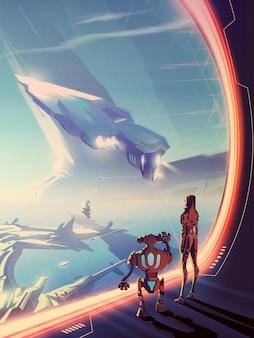 巨大な宇宙船のある窓の外を見ている未来の女性とロボットが飛んでいて、別の惑星の都市の風景。