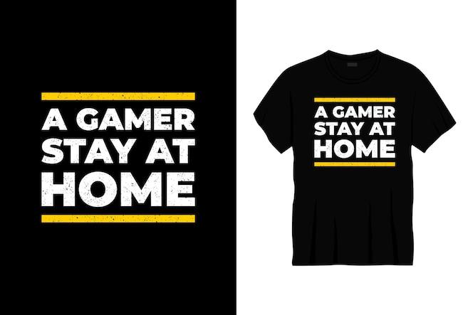 дизайн футболки типографики геймер оставайся дома