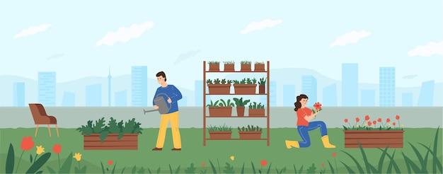 Зеленый сад на крыше здания, мужчина поливает растения, женщина ухаживает за цветами.
