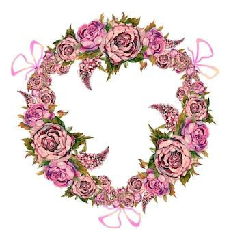 수채화 꽃의 화환.