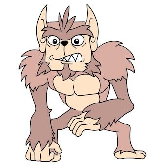 Гигантская горилла йети с густыми каштановыми волосами и жестоким лицом, векторная иллюстрация. каракули изображение значка каваи.