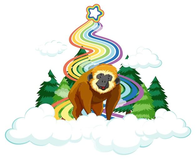 흰색 바탕에 무지개가 있는 구름 위의 긴팔원숭이