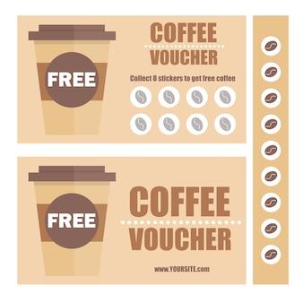 Подарочный сертификат на кофе или купон на скидку. вектор плоский ваучер шаблон. рекламные купоны с наклейками