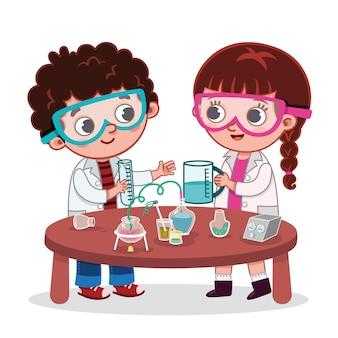 과학 실험실 클래스 벡터 일러스트 레이 션의 소녀와 소년 학생