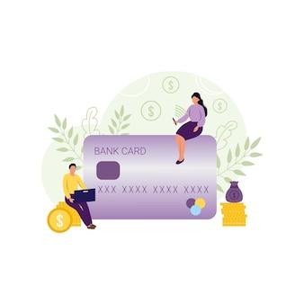 Девушка и мужчина оплачивают онлайн-покупки в магазине банковской картой через онлайн-платеж. концепция интернет-магазина. плоские векторные иллюстрации. экономика и финансы, бизнес, банковское дело.