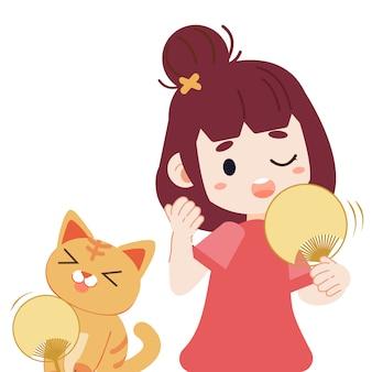 女の子とかわいい猫は暑いです。猫とフラットベクトルスタイルの女の子のキャラクター漫画