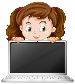 A girl and laptop
