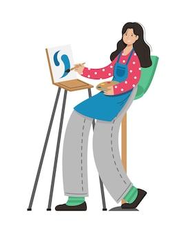 소녀 예술가는 그림을 그립니다. 창조적 인 직업.