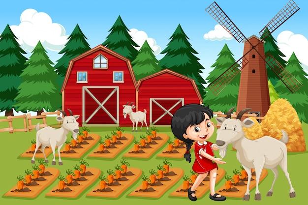 Девушка на сельскохозяйственных угодьях