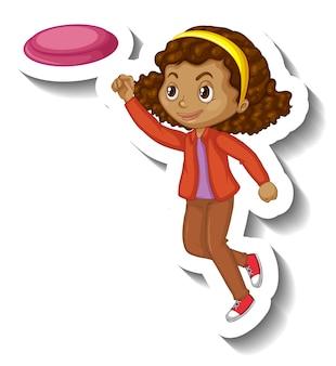 プレート漫画のキャラクターステッカーをキャッチする女の子