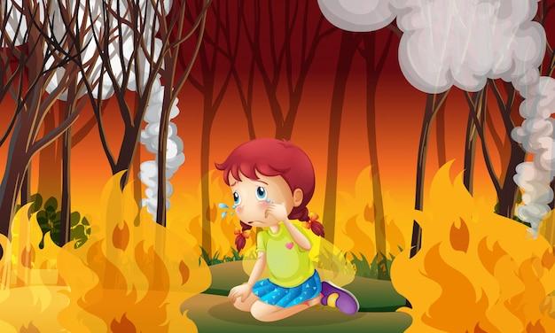 산불 숲에서 우는 여자