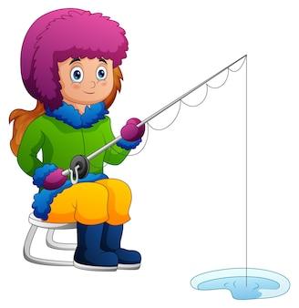 冬のイラストで釣りをする女の子