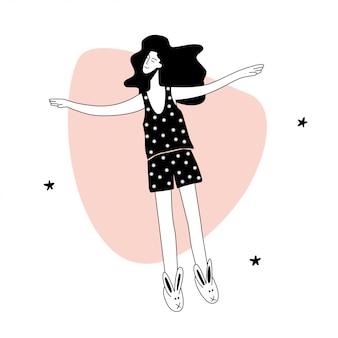 Девушка летает во сне между звездами.