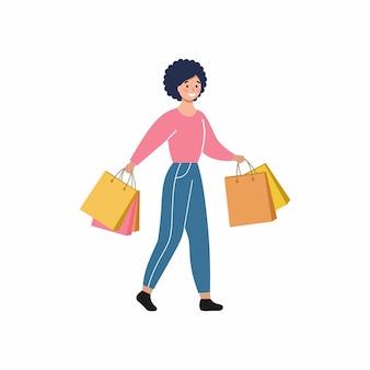 Девушка идет по магазинам из торгового центра. женщина несет в руках хозяйственные сумки. акции, скидки и распродажи. вектор плоский женский персонаж.