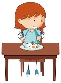 孤立した朝食落書き漫画のキャラクターを持っている女の子