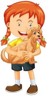 흰색 배경에 고립 된 귀여운 강아지 만화 캐릭터를 들고 소녀