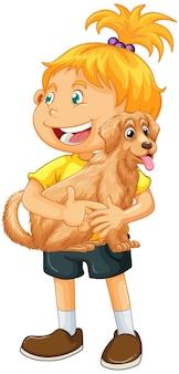 白い背景で隔離のかわいい犬の漫画のキャラクターを保持している女の子