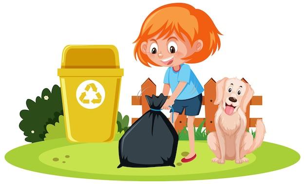 白い背景の上の犬とゴミ箱を保持している女の子