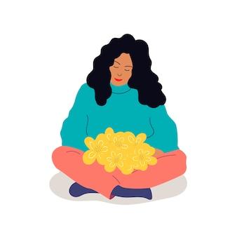 꽃다발을 들고 있는 소녀 프리미엄 벡터