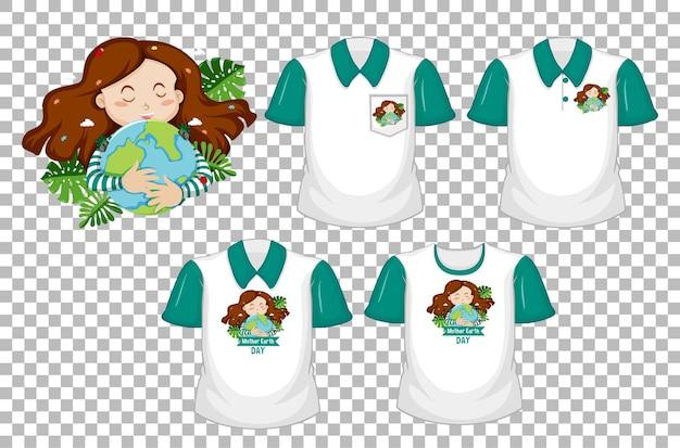 女の子は、透明な背景で隔離の緑の半袖と地球のロゴと白いシャツのセットを抱きしめます