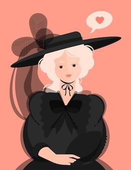 18〜19世紀の黒いドレスを着た少女と、大きなつばと羽のある帽子。高貴な肖像画。心の泡。フラットな漫画スタイルのカラフルなイラスト。
